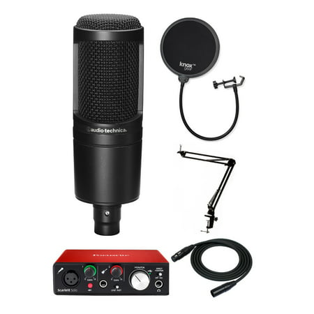 Audio Technica AT2020 Microphone with Focusrite Scarlett Solo Interface Bundle Audio Technica Recording Package