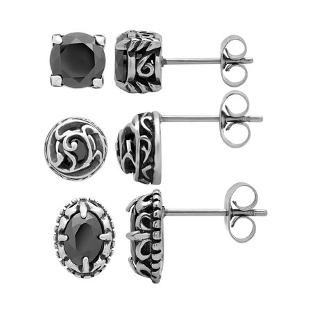 Women's Stainless Steel Black Glass 3-Pair Earring