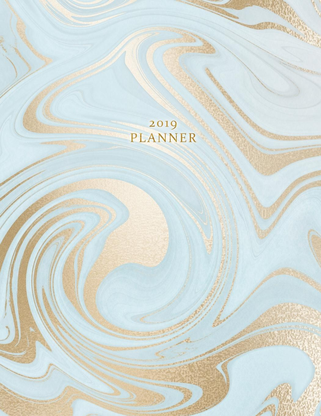 photo regarding Monthly Organizer titled 2019 Planner: Weekly and Regular monthly Planner Calendar Organizer Routine (January 2019 in the direction of December 2019) Sky Blue Gold Marble (Paperback)