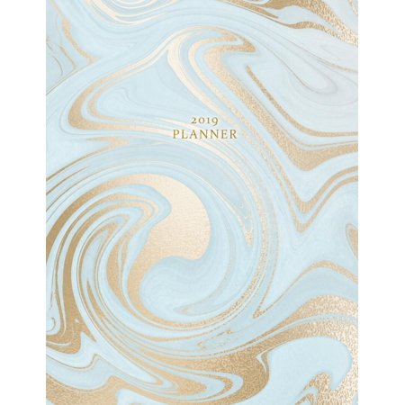 2019 Planner: Weekly and Monthly Planner Calendar Organizer Agenda (January 2019 to December 2019) Sky Blue Gold Marble (Paperback)