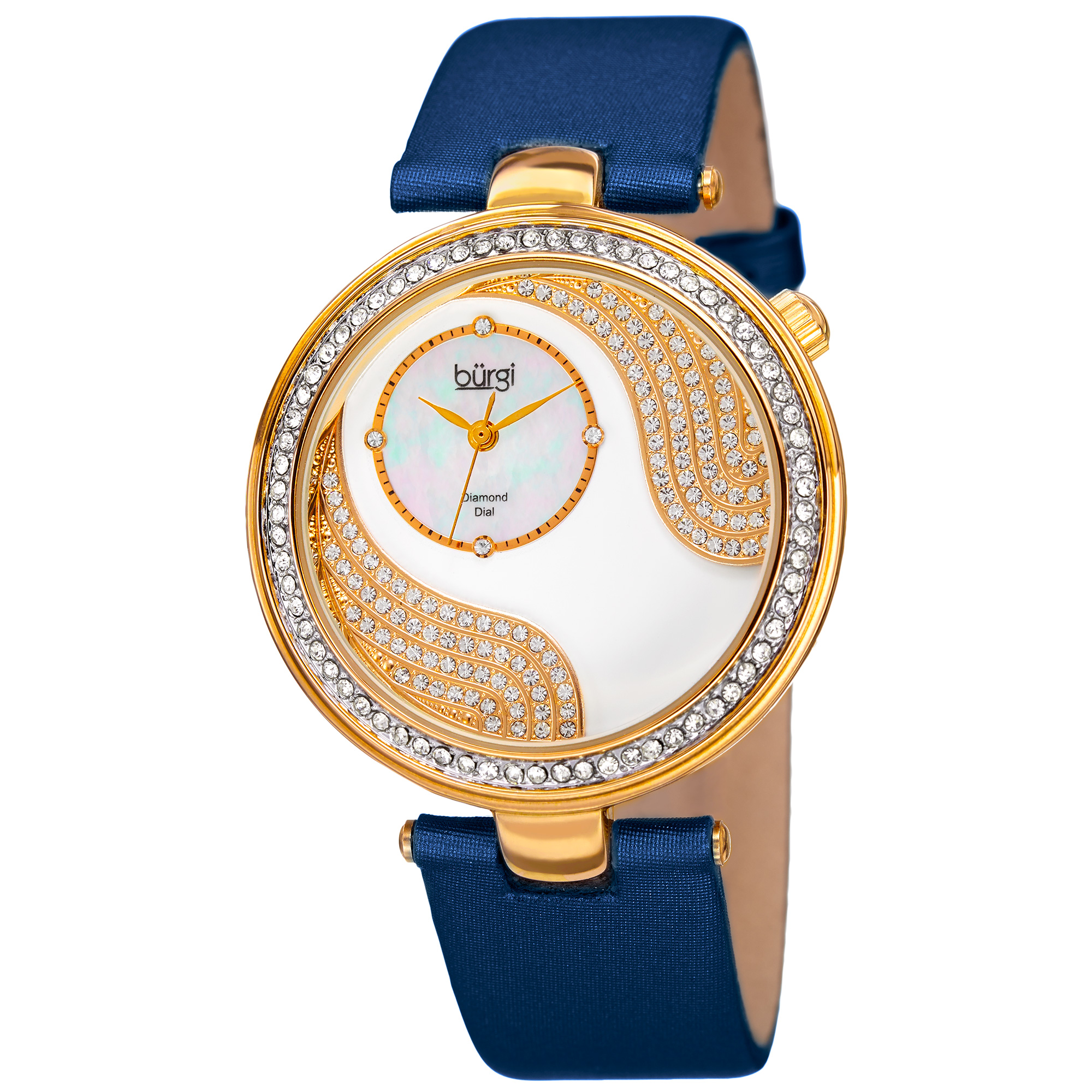 Burgi Women's Quartz Diamond and Swarovski Accented Satin Silk Blue Strap Watch