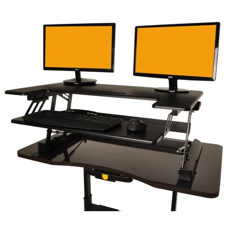 Portabe Height Adjule Standing Desk Foldable Wooden Computer Table Ergonomic With Keyboard Holder
