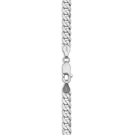 14k White Gold WG 4.5mm Flat Curb Chain - image 2 of 4