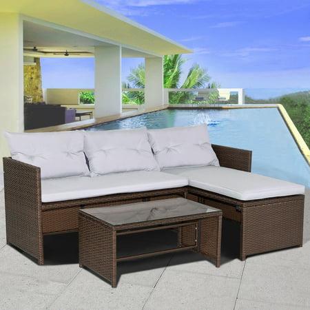 Costway 3PC Outdoor Patio Sofa Set Rattan Wicker Deck Couch Garden Furniture ()