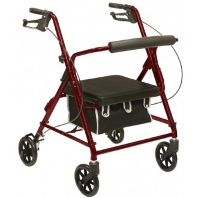 Probasics Bariatric 400lb Capaicty,  4 Four Wheel Rollator Walker with Padded Seat, Burgundy