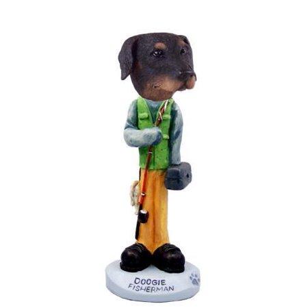 Doberman Pinscher Black Uncropped Fisherman Doogie Collectable Figurine
