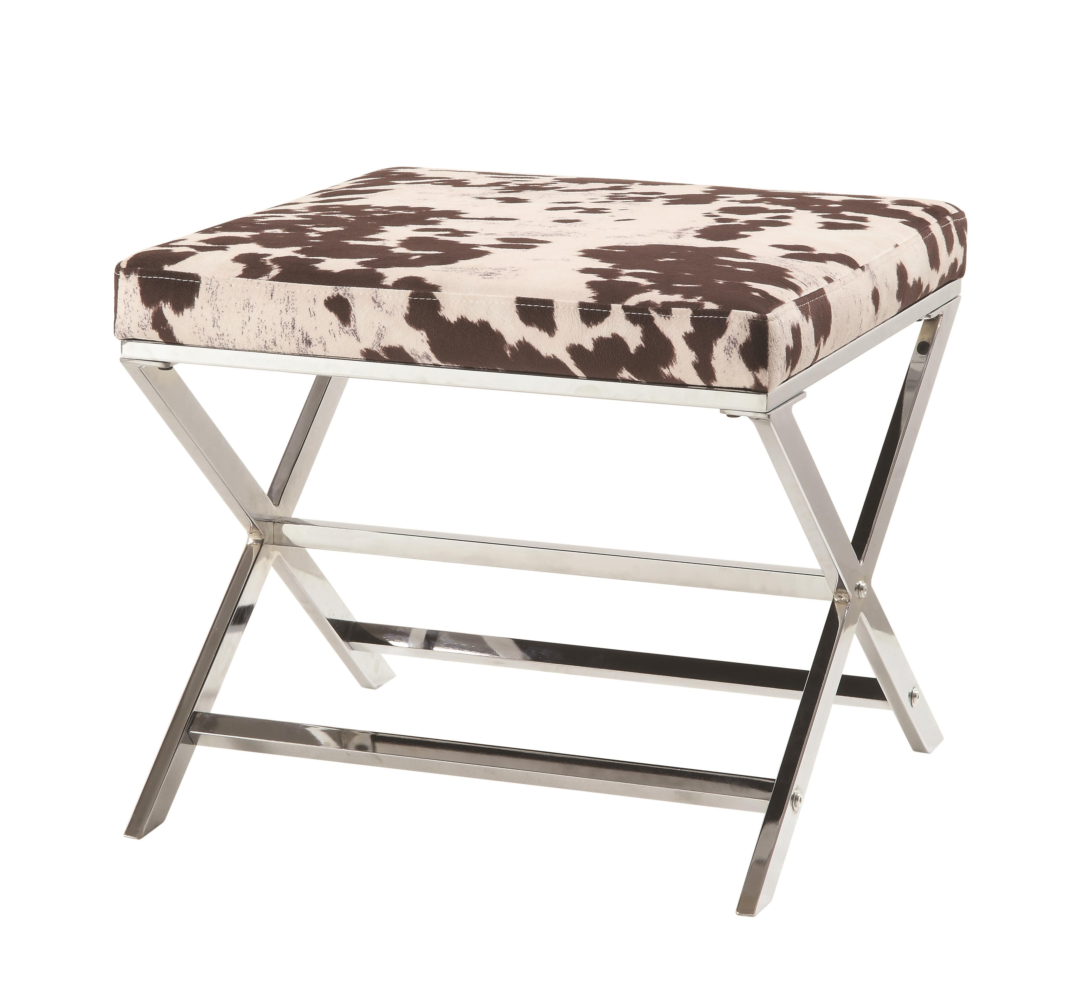 Coaster Contemporary Stool in White and Brown Cow Bonded Leatherette