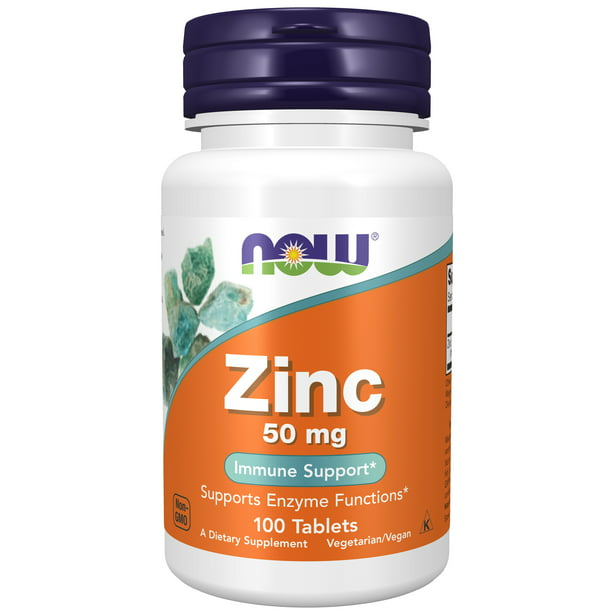 NOW Supplements, Zinc (Zinc Gluconate) 50 mg, Supports Enzyme Functions*, Immune Support*, 100 Tablets