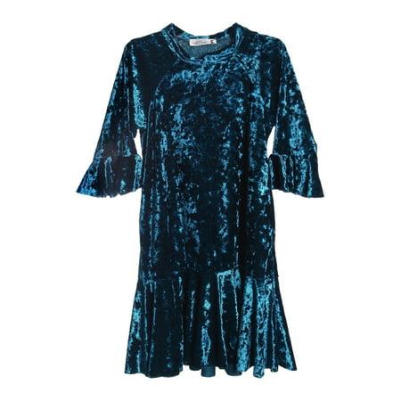 Back To School Clothing Sale (Kids Dream Little Girls Teal Crushed Velvet Back To School Trumpet)