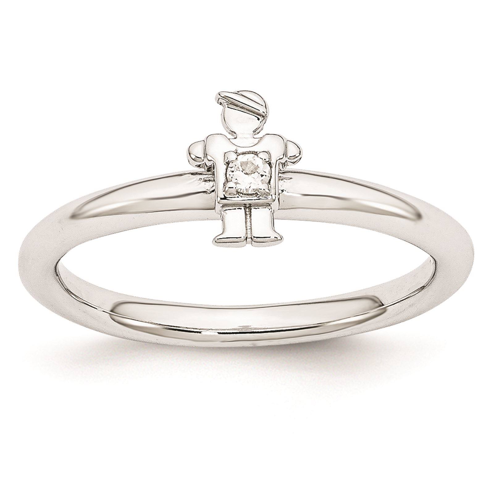 925 Sterling Silver Rhodium Plated White Topaz Boy Stackable Ring Size 6