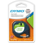 "Dymo 1/2"" x 13 ft White Paper LetraTag Label Tape, 2-Pack"
