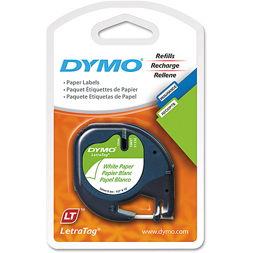 """Dymo 1/2"""" x 13 ft White Paper LetraTag Label Tape, 2-Pack"""