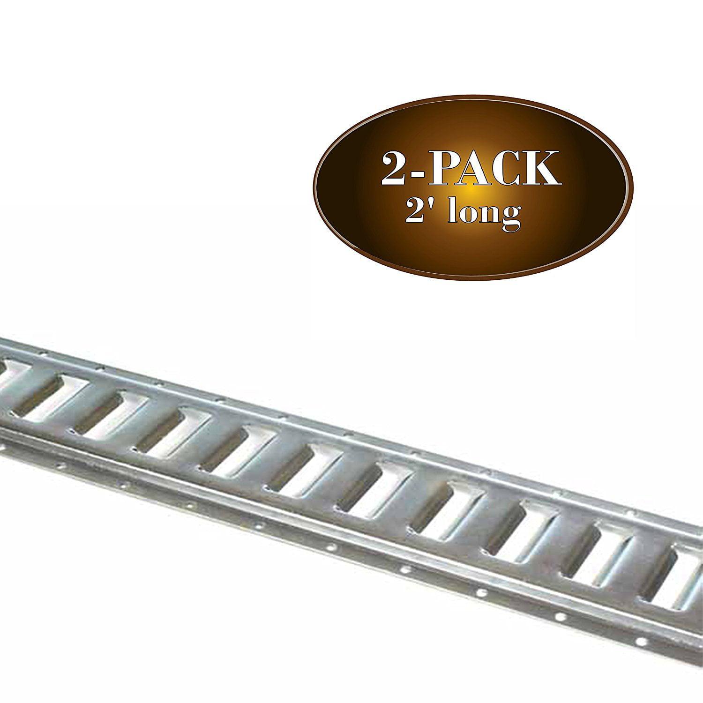 "DC Cargo Mall 2Pk E Track Tie-Down Rail, Zinc-Coated 12 Gauge Steel ETrack TieDowns, 2' x 5""... by Dc Cargo Mall"