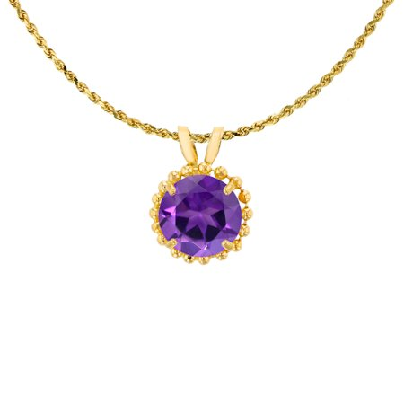 - 10K Yellow Gold 6mm Round Cut Amethyst with Bead Frame Rabbit Ear 18
