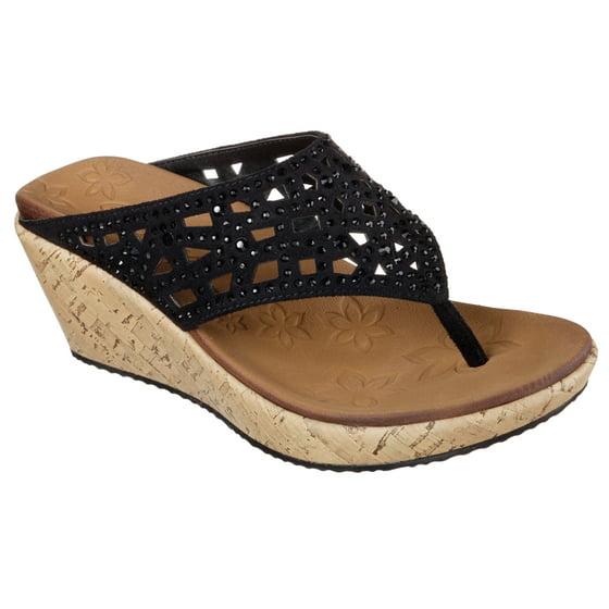 ea36987e9dc09c SKECHERS - Skechers 38537 BLK Women s BEVERLEE-DAZZLED Sandals - Walmart.com