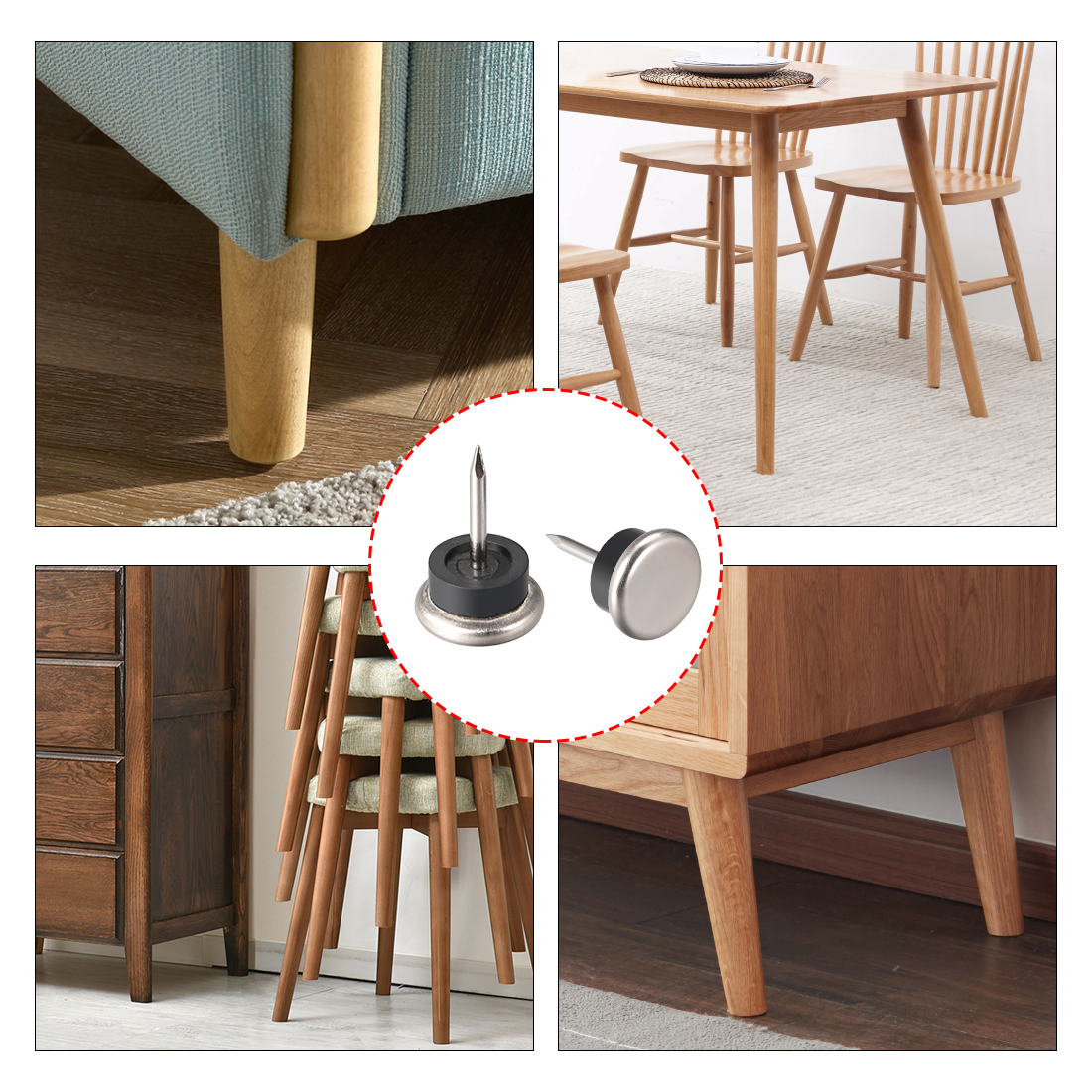 Nail On Furniture Pads Nickel Base Chair Table Leg Protector 19mm Dia 4pcs - image 2 of 3