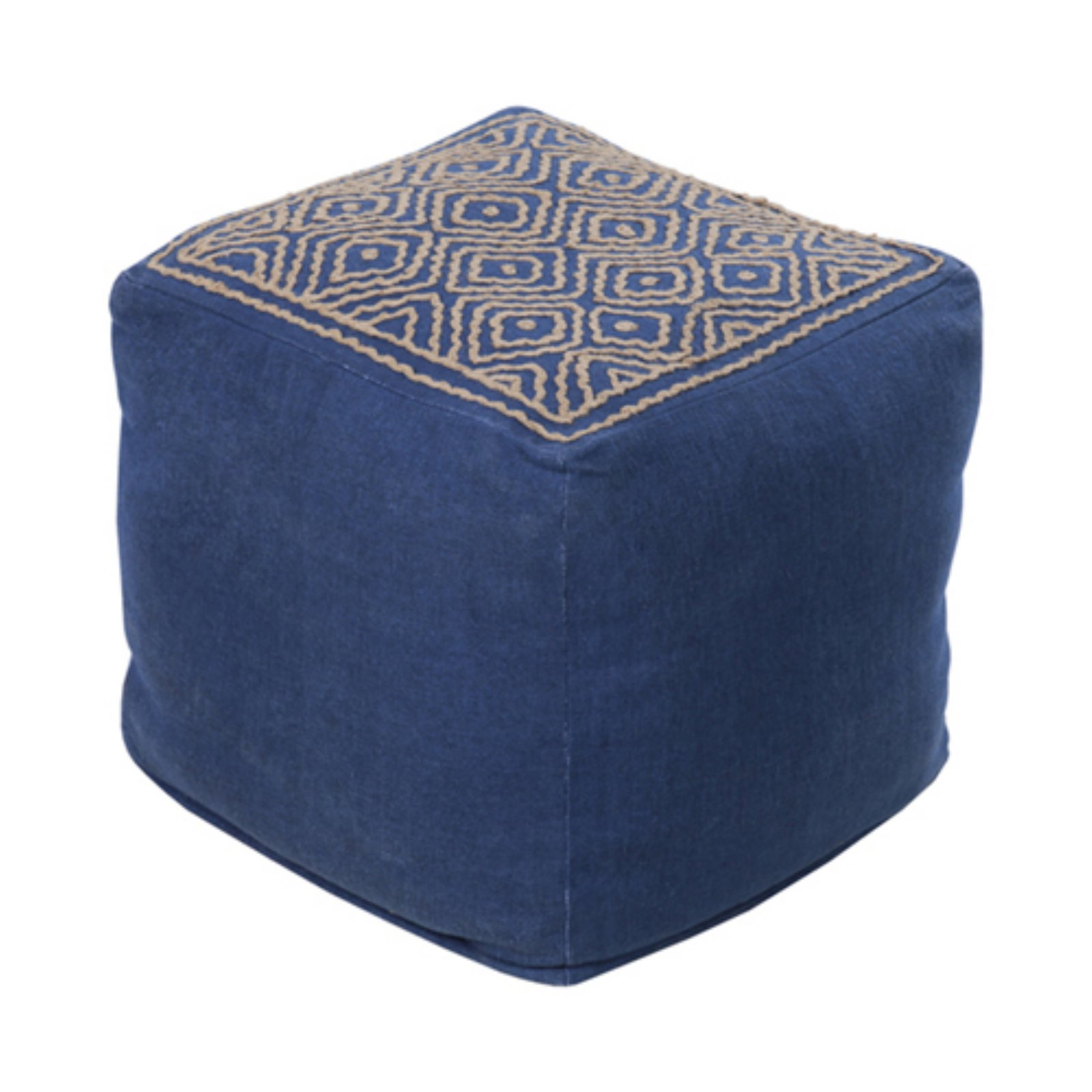 Surya 18 in. Cube Linen Pouf by Surya