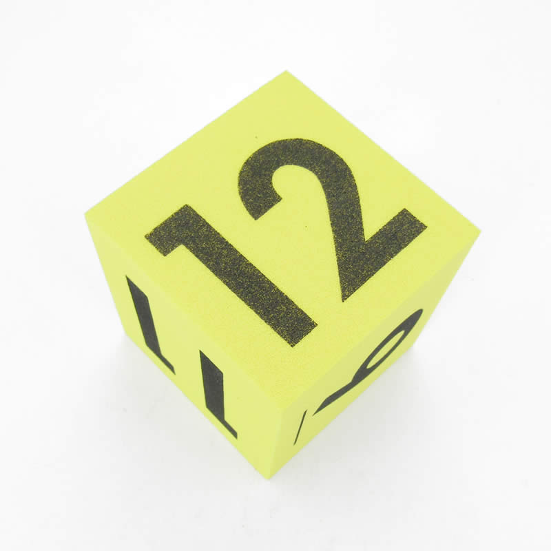 Yellow Opaque Foam Die with Black Numbers 7 to 12 D6 50mm (2in) Pack of 1 Die Koplow Games