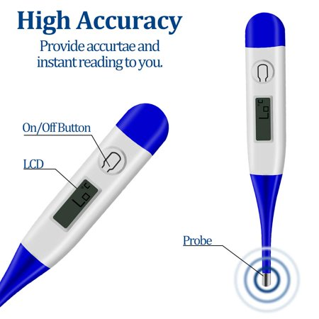 GLiving  LED Digital Professional Thermometer Best to Read & Monitor Fever Temperature  by Oral Rectal Underarm & Axillary Thermometers & Reliable Readings for Baby Adult