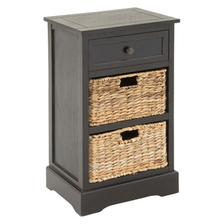 (Decmode Farmhouse 28 X 16 Inch Rectangular Wooden Chest With Wicker Basket Drawers, Black)