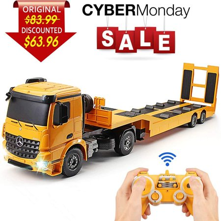 DOUBLE E RC Tow Truck Licensed Mercedes-Benz Acros Detachable Flatbed Semi-Trailer Engineering Tractor Remote Control Trailer Truck Electronics Hobby Toy with Sound and Lights (Toy And Hobby)