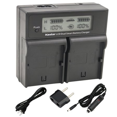 Kastar LCD Dual Fast Charger for Sony NP FH100 DCR DVD92 DVD405 DVD408 DVD610 DVD620E DVD650E HC48 HC96 SR45 S