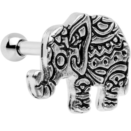 Body Candy Stainless Steel Boho Elephant Tragus Cartilage Earring 16 Gauge 1/4