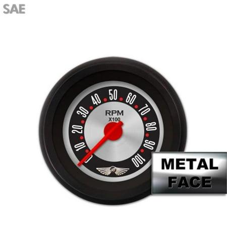 Aurora Instruments GAR2138ZEAIACCE Tachometer Gauge with emblem - American Retro Rodder III, Red Modern Needles, Black Trim Rings ~ Style Kit DIY