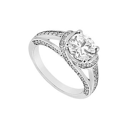 1 Carat Engagement Ring in 14K White Gold with Triple AAA Quality Cubic Zirconia - image 1 of 2