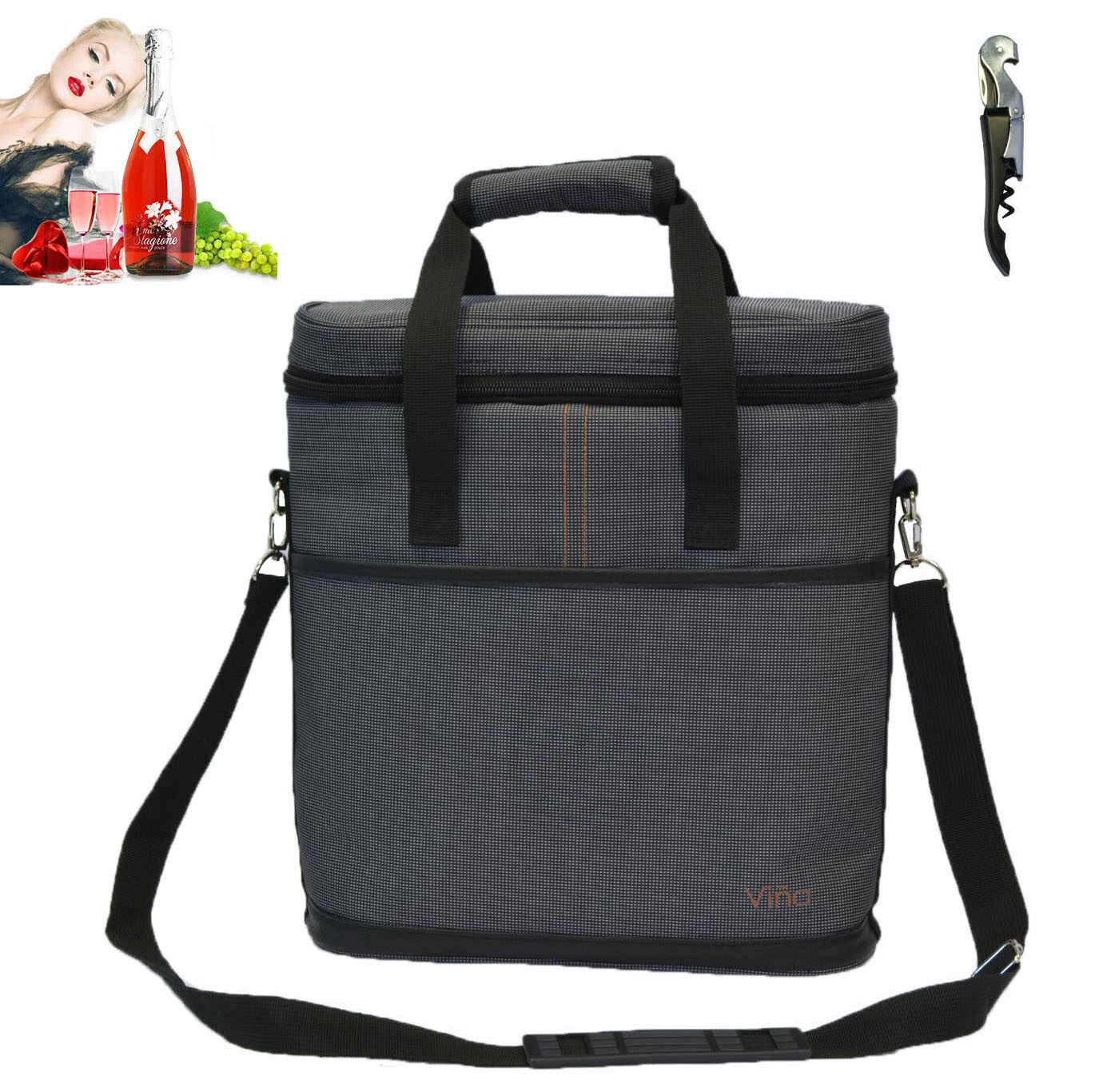 Vina 2-bottle Wine Carrier Bag Beer Carrying Tote Bags Picnic Cooler Insulated Travel Wine Pouch, Gray +Free Corkscrew