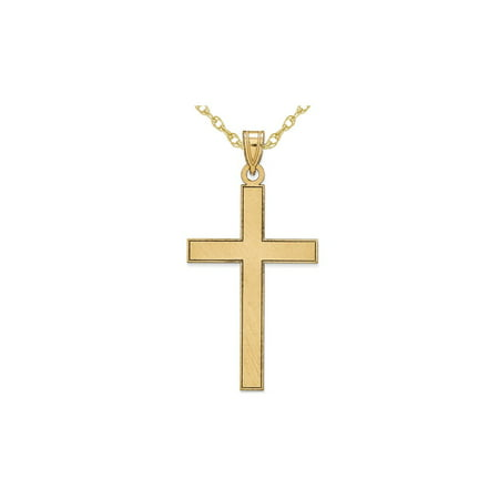 14K Yellow Gold Florentine Cross Pendant Necklace with Chain