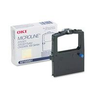 10 X Oki (52102001) OEM Black Ribbon - Microline 100 Series 320 320T 321 321T Black Fabric Ribbon (3M Characters)