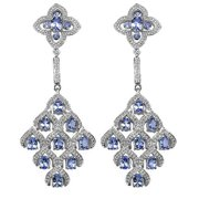 Malaika  3.90 Carat Tanzanite and White Topaz Earrings in .925 Sterling Silver