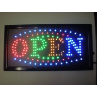 2xhome - Open Sign - High Visible Bright 4 Colors Big Chip Led Moving Flashing Animated Neon Sign Motion Light On Off Switch Button Chain 19x10 for Business Drink Food Restaurant Diner Cafe Bar Pub
