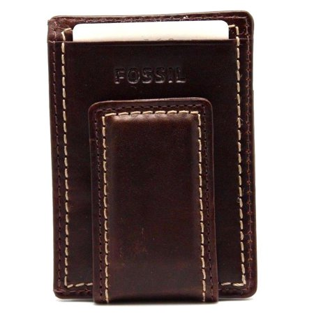 Fossil Card (Fossil Magnetic Money Clipper Wallet Leather Laredo Brown Card Case )