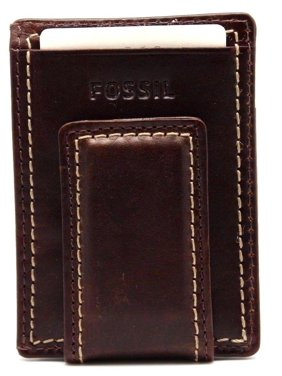 Fossil Magnetic Money Clipper Wallet Leather Laredo Brown Card Case