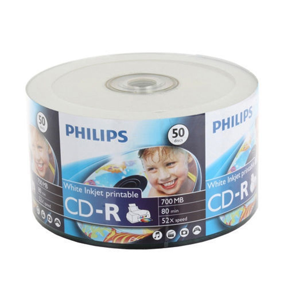 50 Pack Philips Blank CD-R CDR White Inkjet Printable 52X 700MB 80min Recordable Media Disc