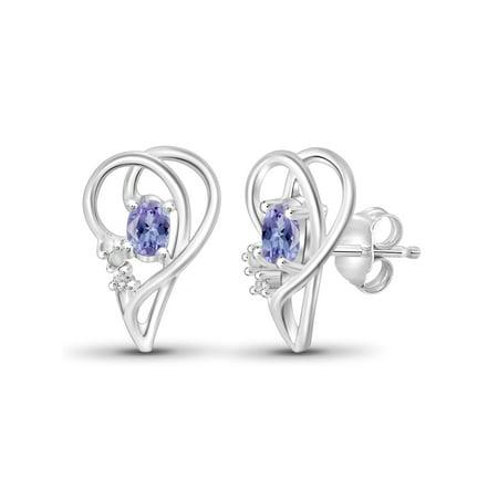 0.48 Carat Tanzanite Gemstone and Accent White Diamond Earrings