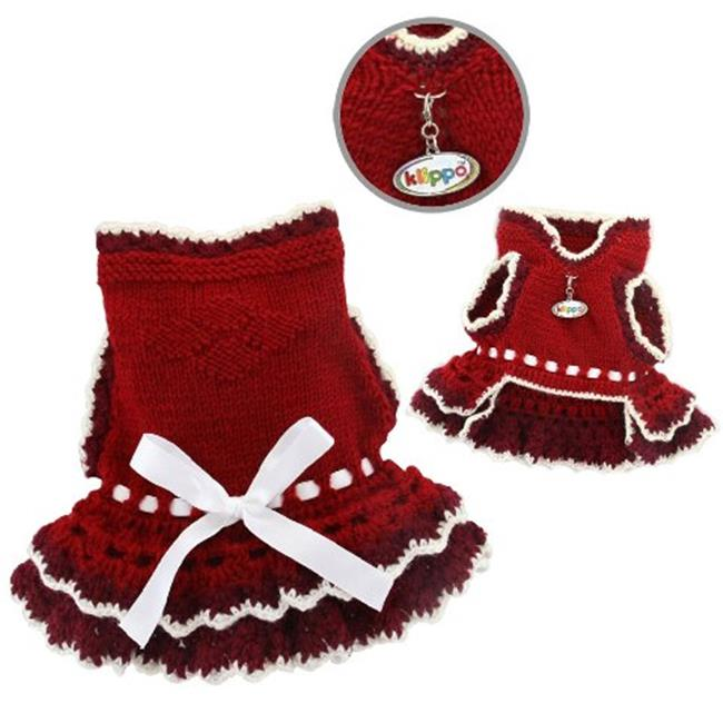 Klippo Pet KSW086XS Glamorous Dog Layered Dress With White Ribbon - Hand Knitted - Extra Small