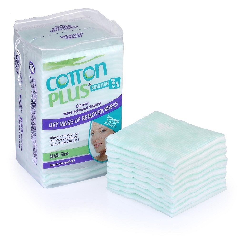 "Cotton Plus 2in1 3x2.7"" Aloe Maxi Makeup Remover Pads Facial Wipes Cleaner 50 Counts"