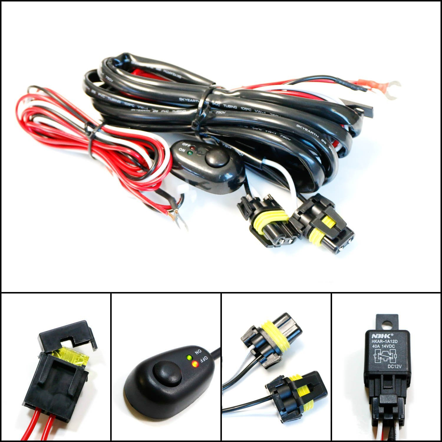Ijdmtoy 1 9005 9006 H10 Relay Harness Wire Kit With Led Light On Ceiling Fan Wiring Off Switch For Aftermarket Fog Lights Driving Hid Conversion Work Lamp