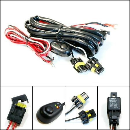 ijdmtoy (1) 9005 9006 h10 relay harness wire kit with led light on/