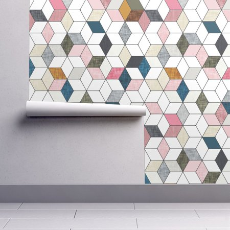 Wallpaper Roll Or Sample Geo Geometric Pink Diamond Hexagon
