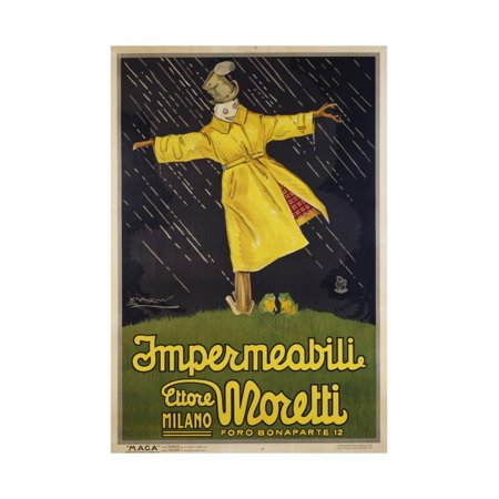 - Impermeabili Ettore Moretti Advertising Poster by Luciano Achille Mauzin Print Wall Art