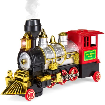 Best Choice Products Kids Battery Powered Bump-and-Go Model Toy Train w/ Headlight, Horn, Smoke -