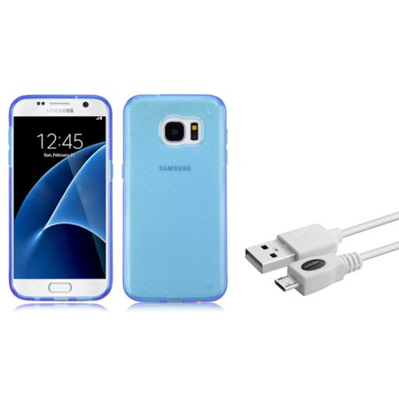 Insten Gel Case For Samsung Galaxy S7 - Blue (+ Micro USB Cable) I1010 Micro Case