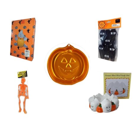 Halloween Fun Gift Bundle [5 Piece] -  Ghost Pumpkin Push In 5 Piece Head Arms Legs - Tombstone Containers Party Favors 6 Count - Wilton Iridescents Jack-O-Lantern Pan - Hanging Skeleton Orange -  C - Halloween Jack In The Box Head