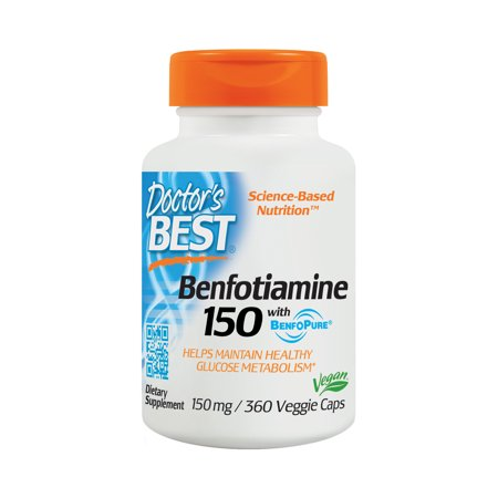 Doctor's Best Benfotiamine, Non-GMO, Vegan, Gluten Free, Soy Free, Helps Maintain Blood Sugar Levels, 150 mg, 360 Veggie
