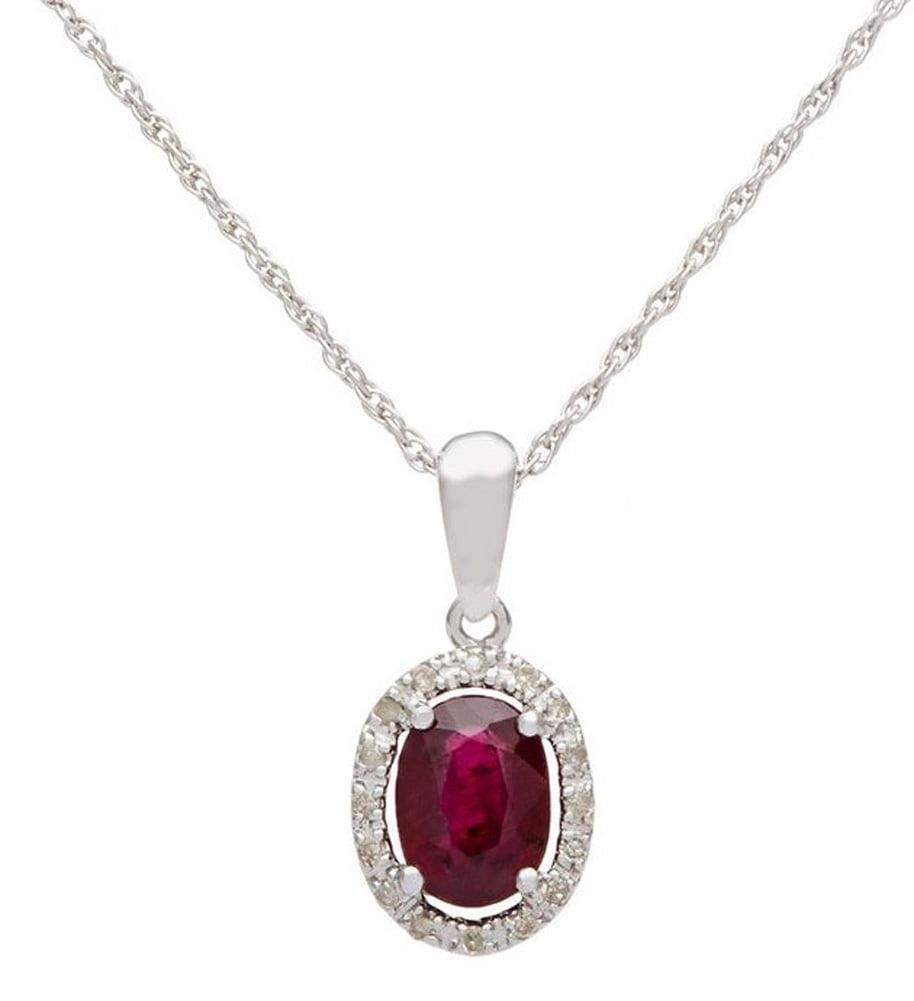 10k White Gold Oval Ruby and Diamond Halo Necklace by Designer Diamonds