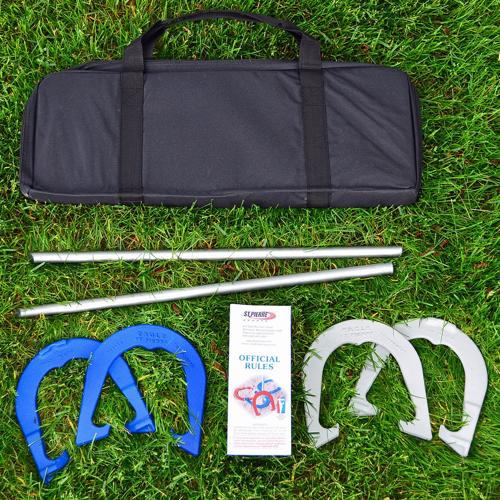 St. Pierre Eagle Tournament Horseshoe Outfit with Nylon Bag
